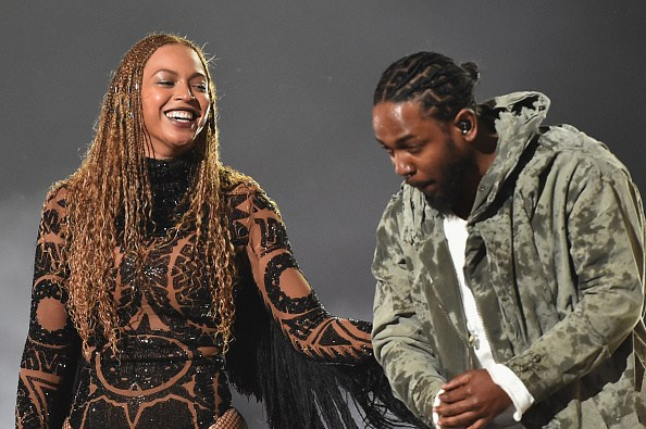 LOS ANGELES, CA - JUNE 26: Recording artists Beyonce (L) and Kendrick Lamar perform onstage during the 2016 BET Awards at the Microsoft Theater on June 26, 2016 in Los Angeles, California. (Photo by Paras Griffin/BET/Getty Images for BET)