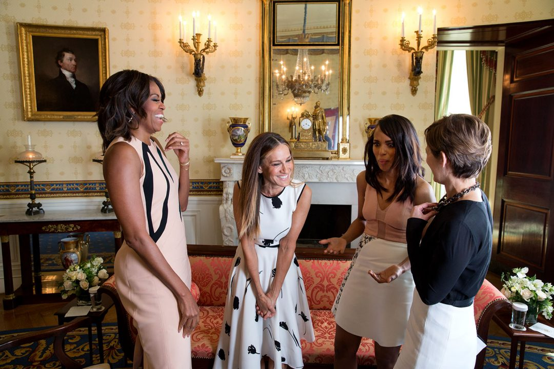 First Lady Michelle Obama, Sarah Jessica Parker and Kerry Washington participate in a conversation moderated by Cindi Leive, right, for Glamour magazine in the Blue Room of the White House, Feb. 11, 2015. (Official White House Photo by Chuck Kennedy) This official White House photograph is being made available only for publication by news organizations and/or for personal use printing by the subject(s) of the photograph. The photograph may not be manipulated in any way and may not be used in commercial or political materials, advertisements, emails, products, promotions that in any way suggests approval or endorsement of the President, the First Family, or the White House.