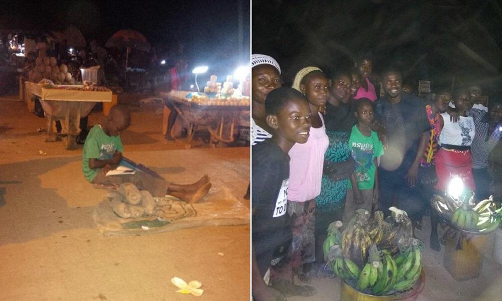 Criança que tenta estudar enquanto vende legumes na feira ganha ajuda graças ao poder da internet