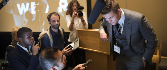 """WASHINGTON, DC - NOVEMBER 20: at an Alt Right ( alternative right) conference hosted by the National Policy Institute in Washington, DC on November 18, 2016. The think tank promotes white nationalism and critics accuse them of being racist and anti-semitic. The chairman of the National Policy Institute, Richard Spencer, has been permanently banned from entering the UK, and was deemed a """"national security threat"""" after his arrest in Hungary in 2014. He was recently banned from Twitter in a prominent purge by the company this week. (Photo by Linda Davidson/The Washington Post via Getty Images)"""