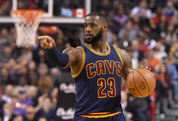 Dec 5, 2016; Toronto, Ontario, CAN; Cleveland Cavaliers forward LeBron James (23) points to where he wants his team mates to move against Toronto Raptors in the first half at Air Canada Centre. Mandatory Credit: Dan Hamilton-USA TODAY Sports
