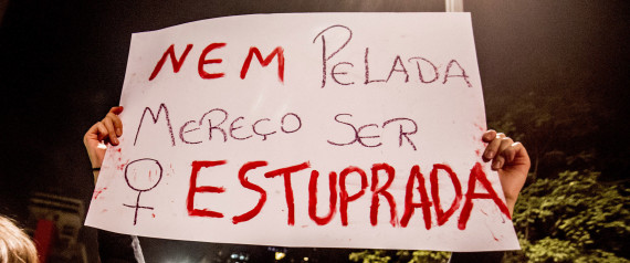 SAO PAULO,  BRAZIL - JUNE 08:  Women march during a protest against the gang rape of a 16-year-old girl  on June 8, 2016 in Sao Paulo, Brazil. In response to the assault, Brazil's interim President Michel Temer said that Brazil will set up a specialized group to fight violence against women. (Photo by Cris Faga/LatinContent/Getty Images)