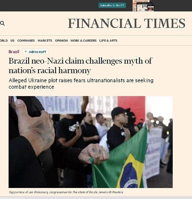 'Financial Times': Grupos neonazistas desafiam o mito de democracia racial no Brasil
