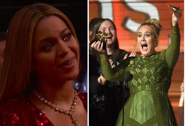 Adele quebra principal troféu do Grammy para dividir com Beyoncé e leva colega as lágrimas