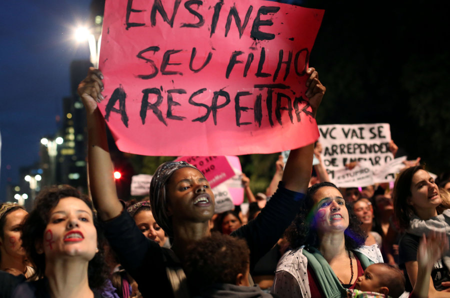 SAO PAULO, June 2, 2016 -- Demonstrators take part in a protest against the gang rape of a 16-year-old girl in Rio de Janeiro and violence against women, in Sao Paulo, Brazil, on June 1, 2016. (Xinhua/Rahel Patrasso via Getty Images)