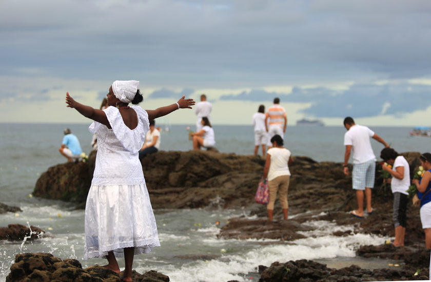 "Salvador, Brazil - February 2, 2016: Party to celebrate Yemanja Day in Salvador (BA) .The event held on the beach of the Red River and attracts people to revenciar the ""Queen of the Sea"" by Candomblé followers."