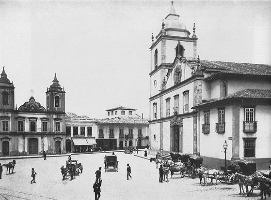 Igreja Matriz da Sé (Foto de Augusto Militão de Azevedo, 1860). Tebas construiu a torre, em 1750, e executou a reforma do prédio, entre 1777 e 1778