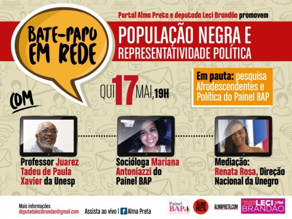 Leci e Portal Alma Preta promovem um 'Bate-Papo' sobre população negra e representatividade política