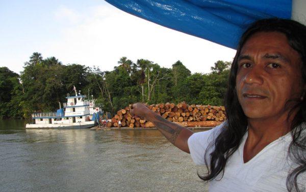 Edson denuncia exploração ilegal de madeira no rio Amazonas, na região de Breves, no Pará. Foto: Arquivo pessoal