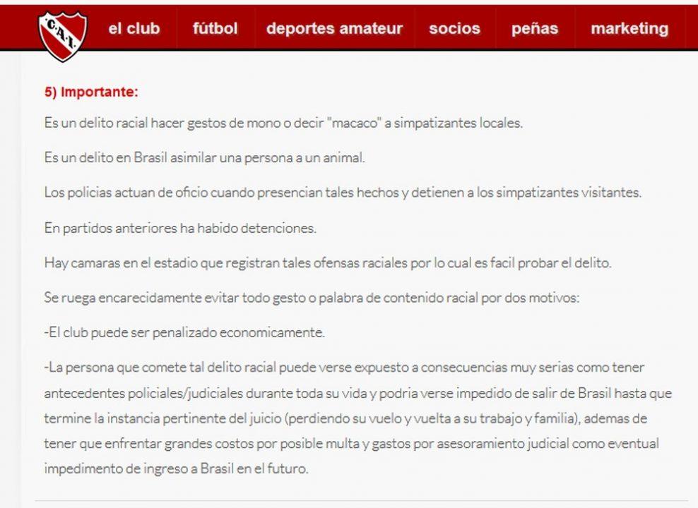 Independiente cria cartilha para que torcedores não cometam racismo no Brasil