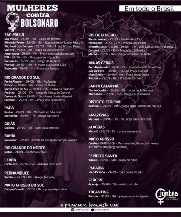 Cidades do Brasil e do mundo terão atos contra Bolsonaro no dia 29