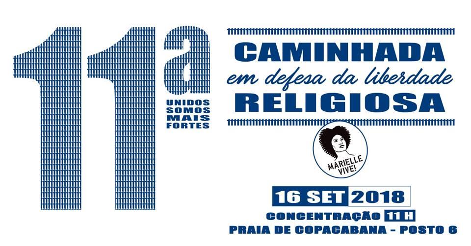 Domingo, 16 de setembro, estaremos JUNT@S, às 11h, na11ª Caminhada em Defesa da Liberdade Religiosa