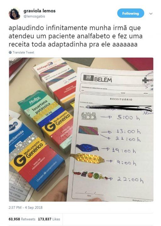 Estudante de medicina em Belém customiza receita para paciente analfabeto lembrar horários de remédios