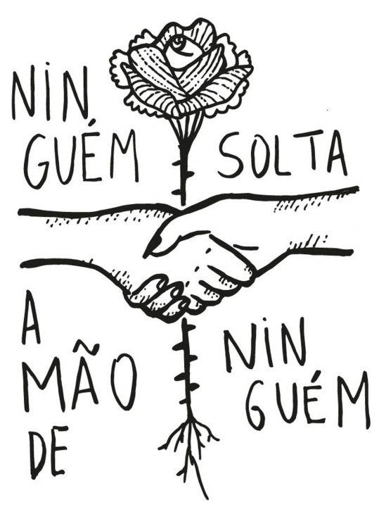 'Ninguém solta a mão de ninguém', desenho que viralizou no país, é criação de tatuadora mineira