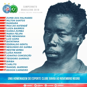 Bahia homenageará mês da Consciência Negra em camisa contra a Chapecoense