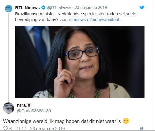 Holandeses se irritam com fala de Damares sobre pais masturbarem crianças