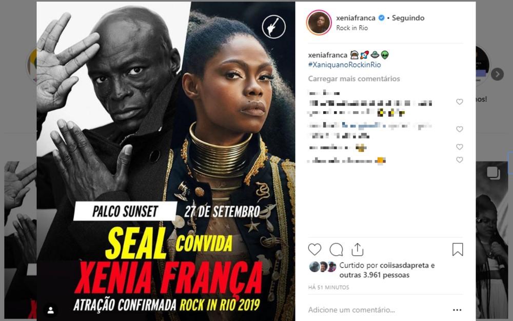 Xênia França participará do show do cantor britânico Seal no Rock in Rio 2019