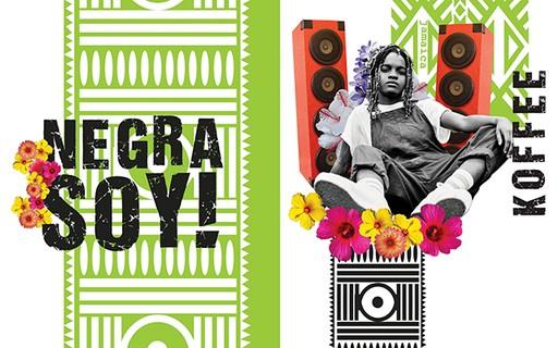 Ilustração com a cantora Koffe, onde mostra ela sentada e duas caxas de som a sua volta, o fundo da imagem é composto por desenhos africanos na cor verde abacate