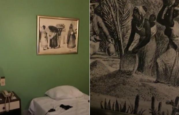 Hotel é decorado com quadros de escravidão (Foto: Reprodução / Instagram)