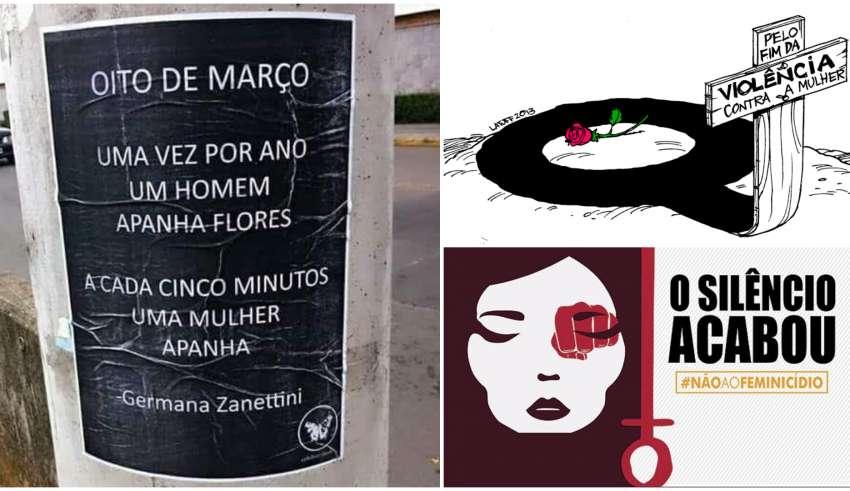 Imagens alusivas ao Dia Internacional da Mulher, em 8 de Março, em campanhas de combate à violência contra a mulher (Twitter/Reprodução)