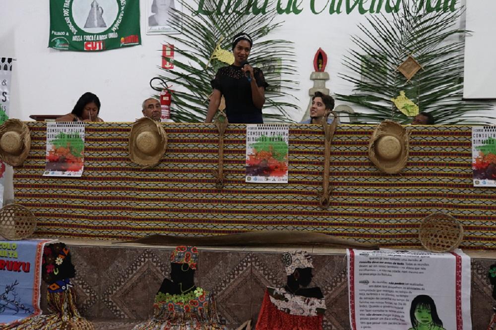Debate contou com a participação das lideranças indígenas Alessandra Korap Munduruku, Manoel Munduruku, da quilombola de Diamantina (MG) Ione Martins e de Dileudo Guimarães, liderança quilombola de Santarém - Foto: Franciele Petry