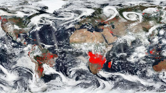 Foto de satélite da Nasa mostra região de incêndios na África. Foto: Nasa