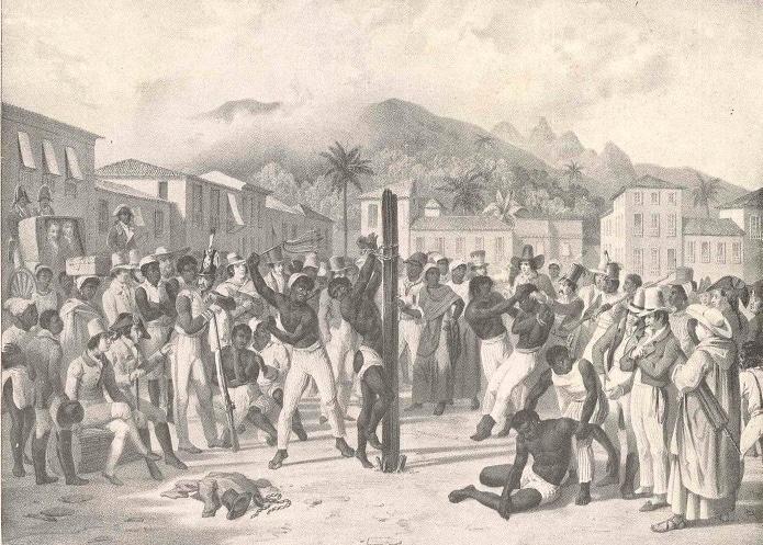 Quadro em preto e branco de um homem amarrado em um pal, sendo açoitado diante de uma multidão