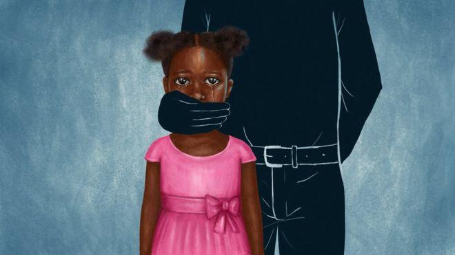 Ilustração de uma menina negra chorrando e um homem vestido todo de preto tampando a sua boca