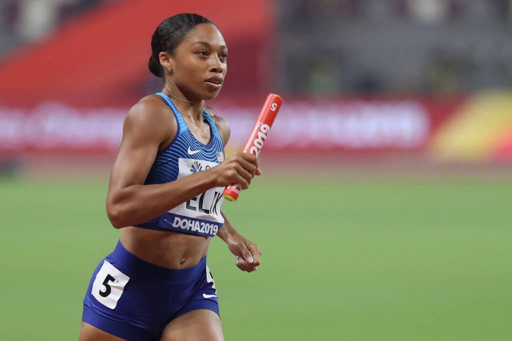 Allyson Felix durante competindo pelo revezamento 4x100 metros no Mundial de Doha - Aleksandra Szmigiel - 29.set.2019/REUTERS