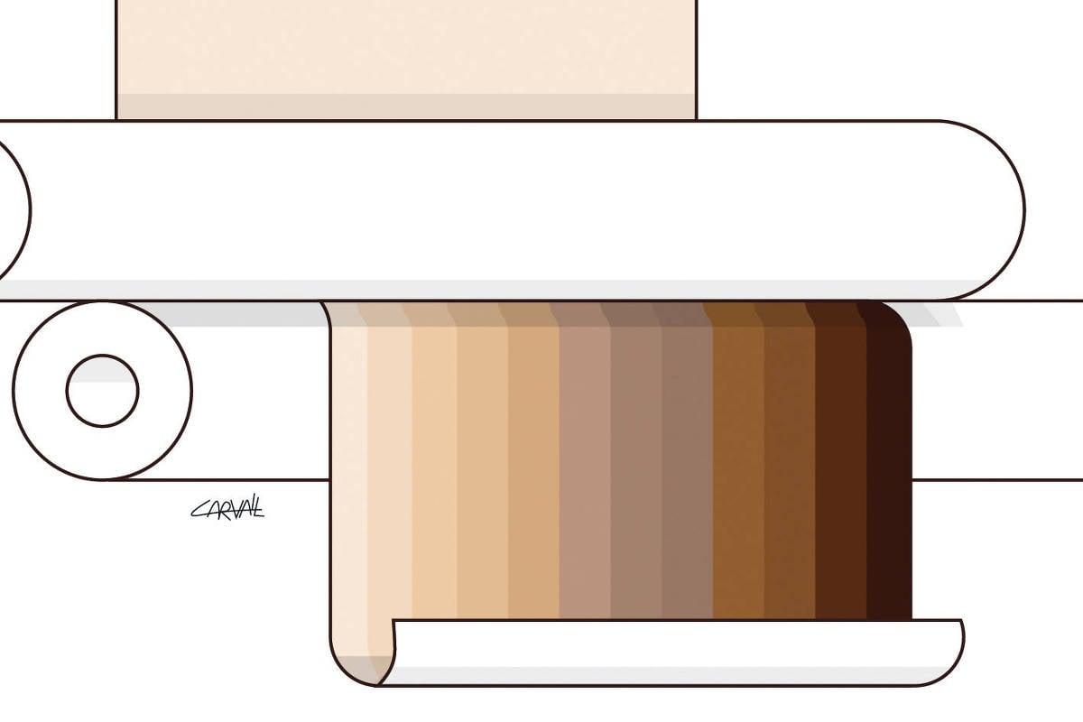 Ilustração com vários tons de cor de pele