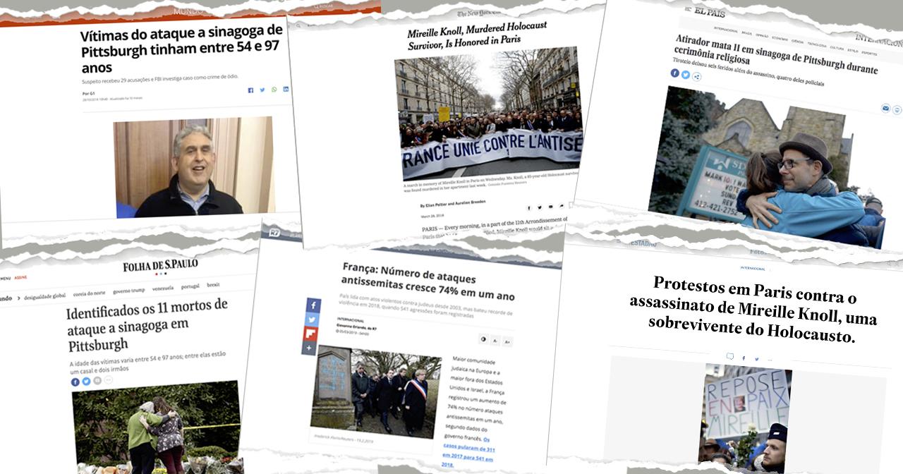 Recorte de manchetes de sites de notícias destacam aumento de atos antissemitas no mundo – Fotomontagem/ USP Imagens