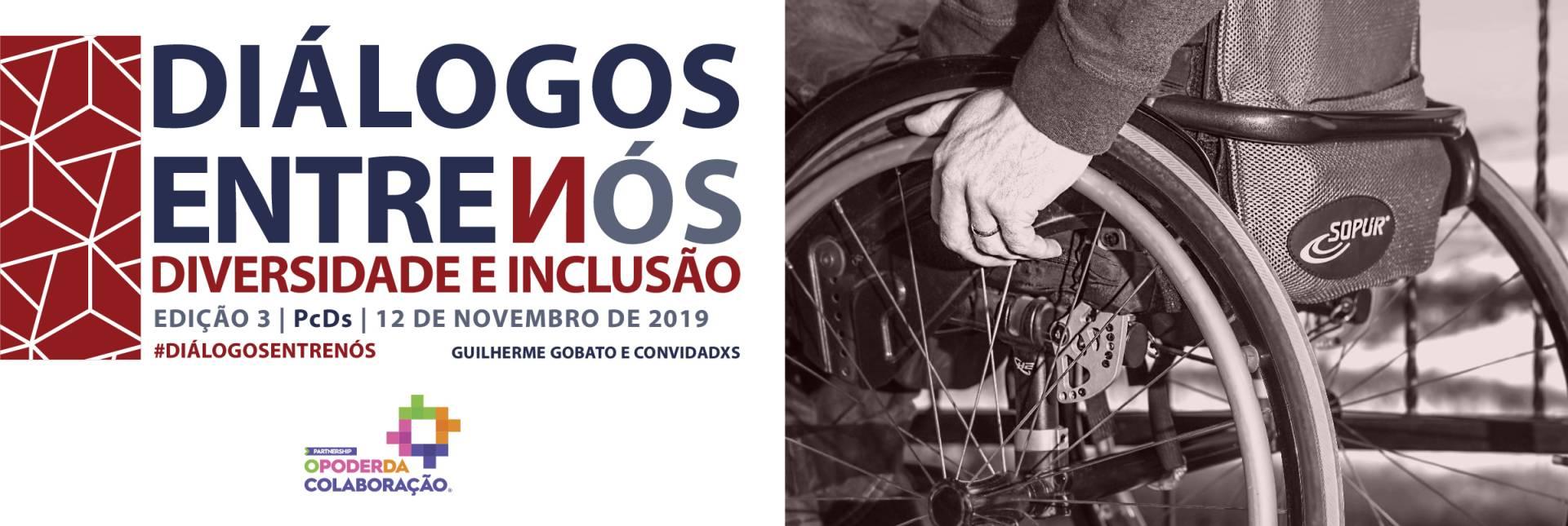 banner do evento, contendo o nome e a data, ao lado tem a imagem de uma cadeira de rodas