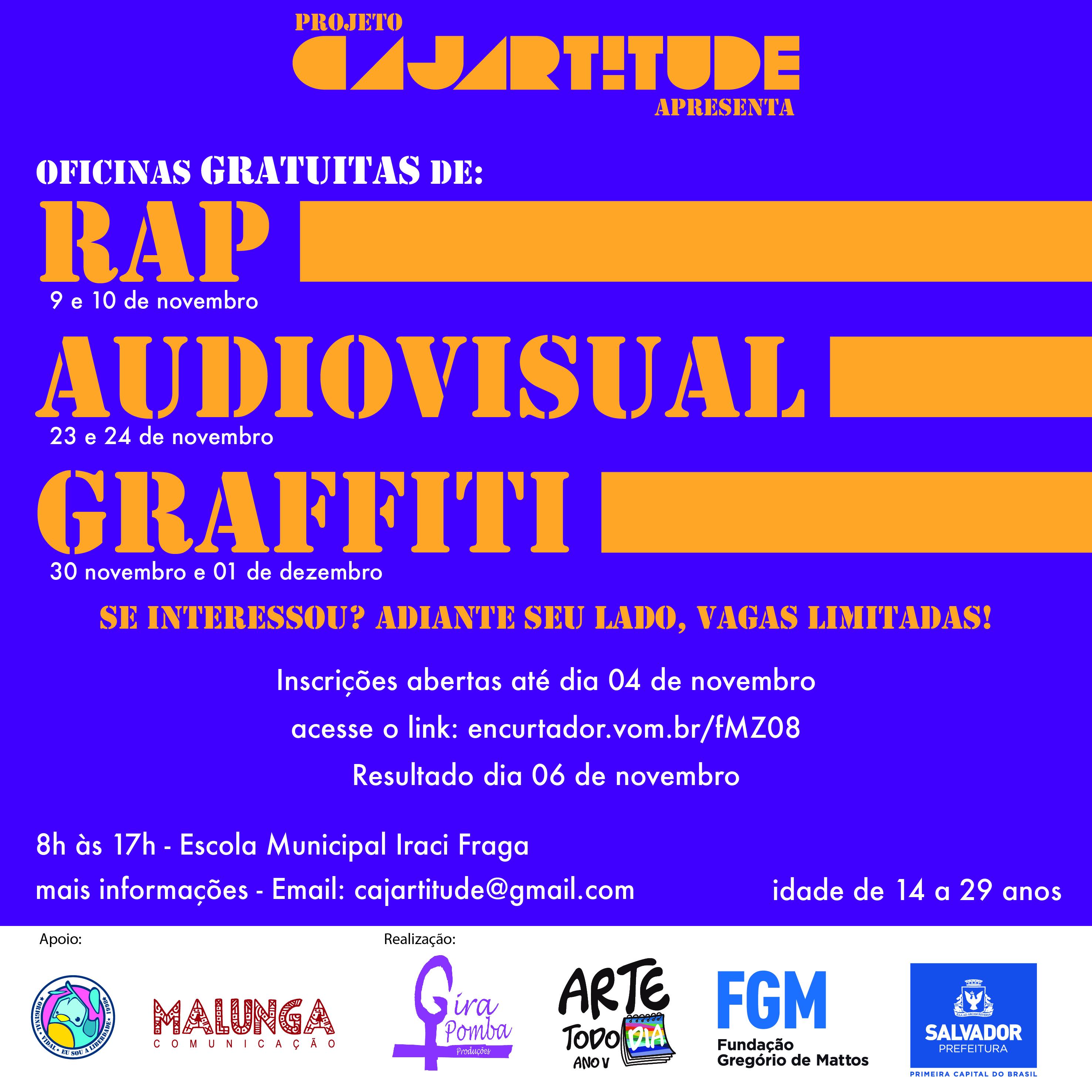 Cajartitude: projeto de artistas locais leva oficinas de graffiti, música e audiovisual para o bairro de Cajazeiras