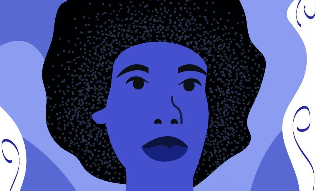 Ilustração toda em azul de uma mulher, de lábios carnudos e cabelo black.
