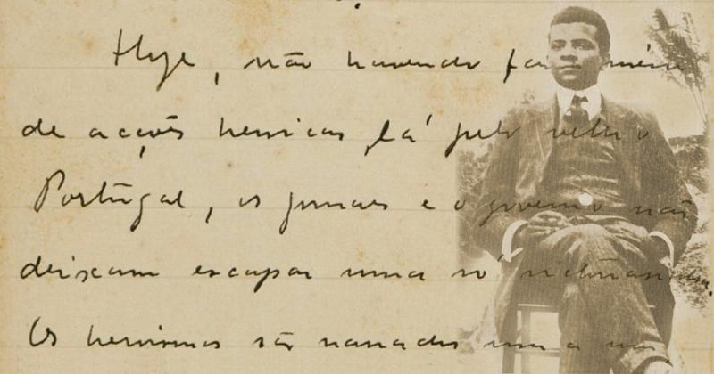 Lima Barreto na época da 1ª edição do Recordações do Escrivão Isaías Caminha (Agência Brasil), e detalhe de crônica inédita do escritor encontrada após sua morte (Biblioteca Nacional) – Fotomontagem: Jornal da USP