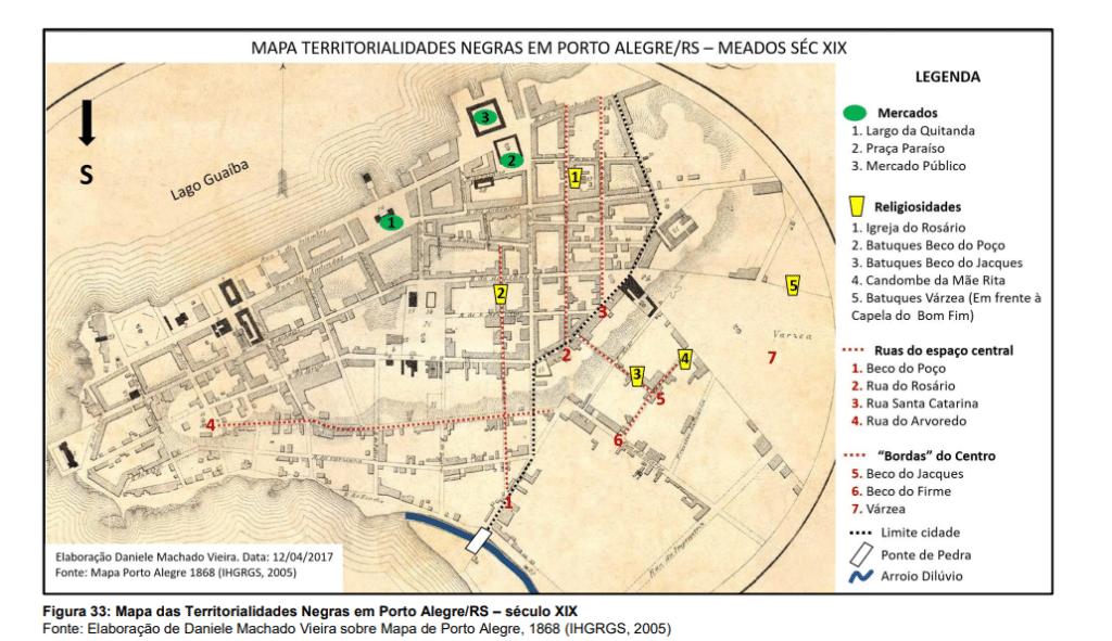 Mapa territorialidades negras em Porto Alegre/RS- Meados do século XIX