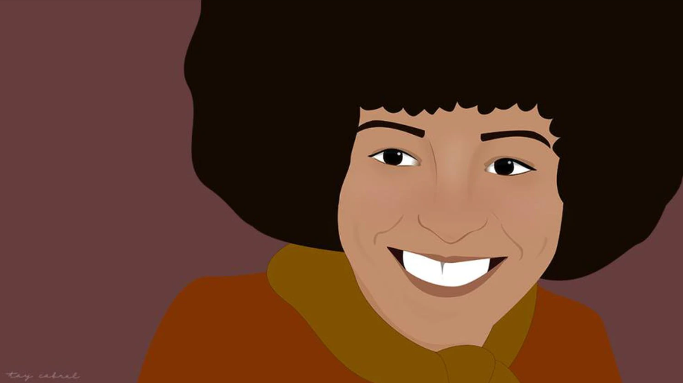 Ilustração de Angela Davis- mulher negra de cabelo black power, sorrindo