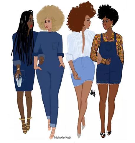 Ilustração com quatro mulheres negras