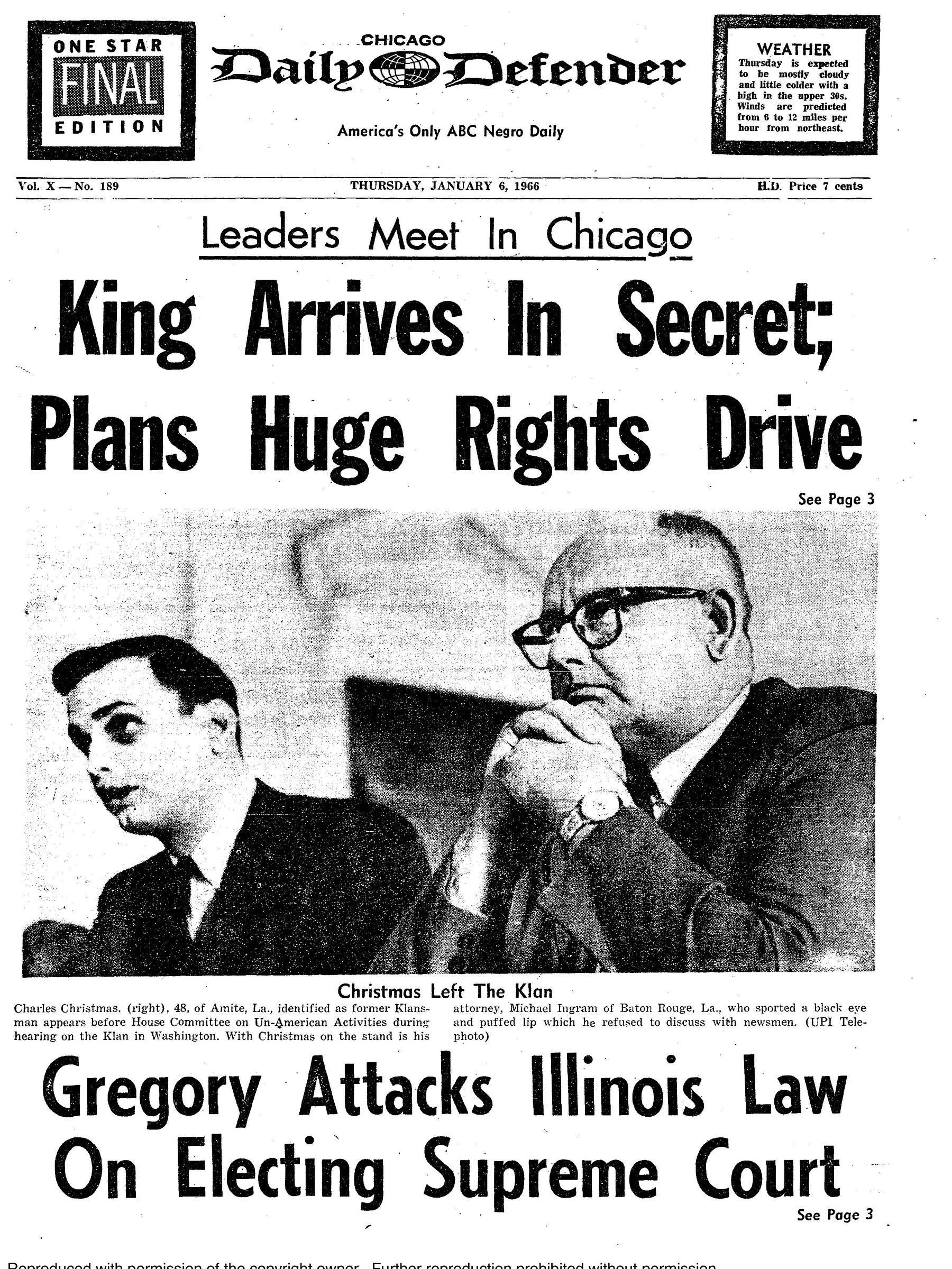 Imagem fornecida pelo Chicago Defender, de janeiro de 1966. O jornal deixará de ter a versão impressa do jornal deixará após 10 de julho de 2019 - Reprodução do Chicago Defender/NYT