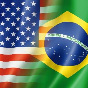 Ilustração da bandeira do Brasil ao lado da bandeira dos EUA