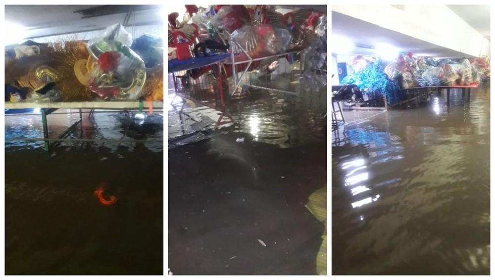 O barracão da escola de samba Pérola Negra ficou alagado nesta segunda-feira (10) — Foto: Divulgação