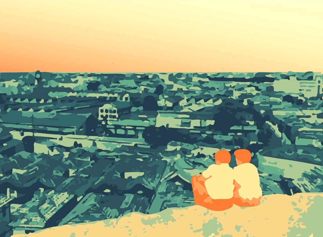 Visual do Morro do Piolho com casas na Rua Lavapés e o conjunto da Light ao Fundo antes de ser demolido. Ilustração feita pelas autoras com base em foto do Acervo Casa da Imagem DPH/SMC