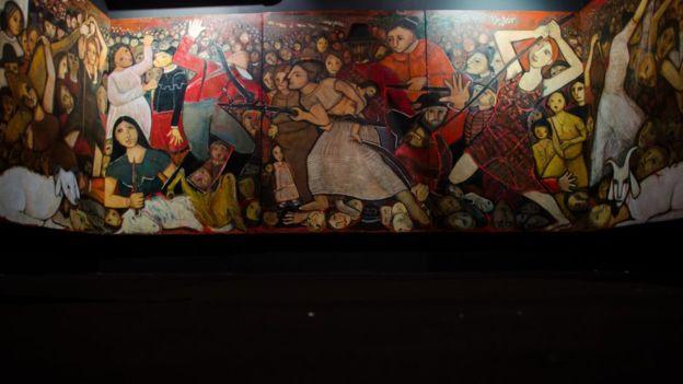 Painel completo da artista plástica Tereza Costa Rêgo retrata a batalha de Tejucupapo