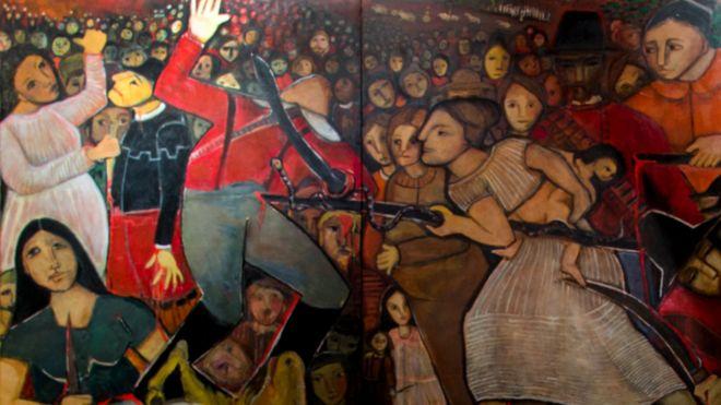 Pintura de varias mulheres lutando