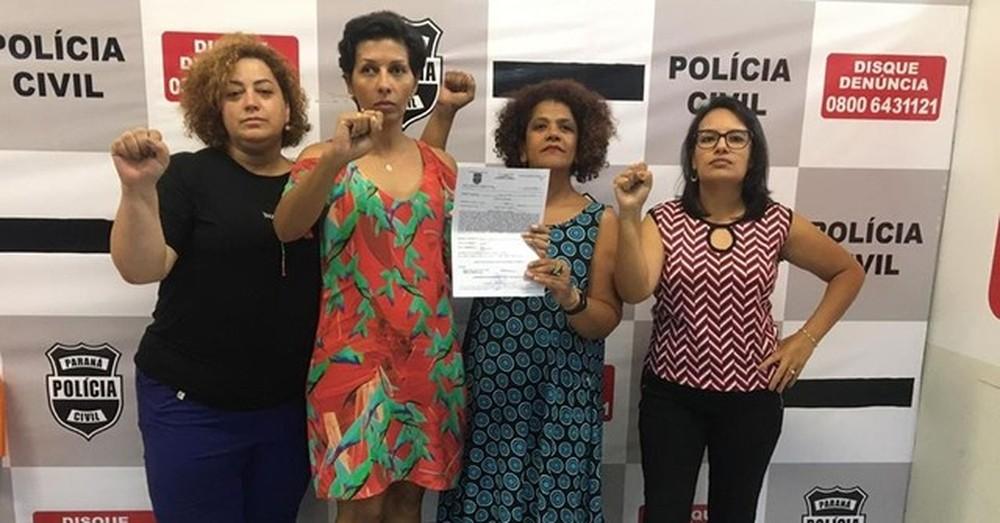Lucimar Dias, de azul, fez boletim de ocorrência por racismo após ser acusada de furto, em Curitiba — Foto: Arquivo pessoal/Lara Sfair