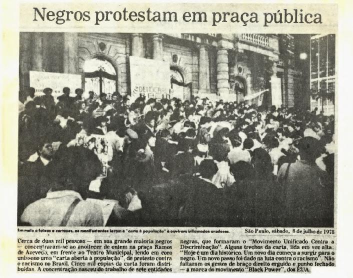 """Matéria do Jornal do MNU, """"Negros protestam em praça publica"""""""