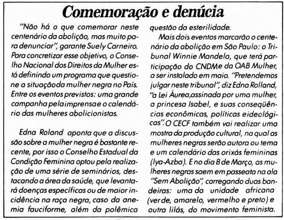 """Matéria do Jornal Mulherio, """"Comemoração e denuncia"""""""