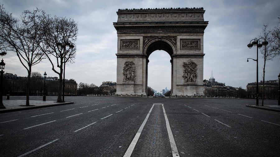 Foto do ponto turístico Arco do Triunfo em Paris, completamente vazio