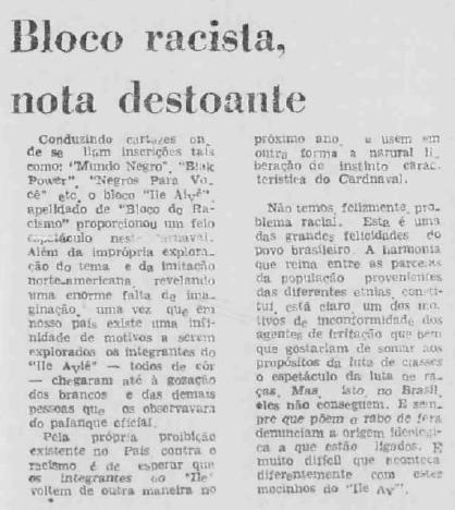 """Matéria antiga do Jornal A Tarde, que fala sobre o """"Bloco racista, nota destoante"""""""
