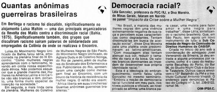 """Matéria do Jornal Mulherio, """"Quantas anônimas guerreira brasileiras"""""""